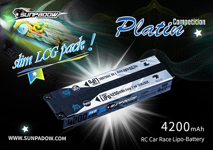 SUNPADOW 7.4V 4200mAh 120C Platin リポバッテリー