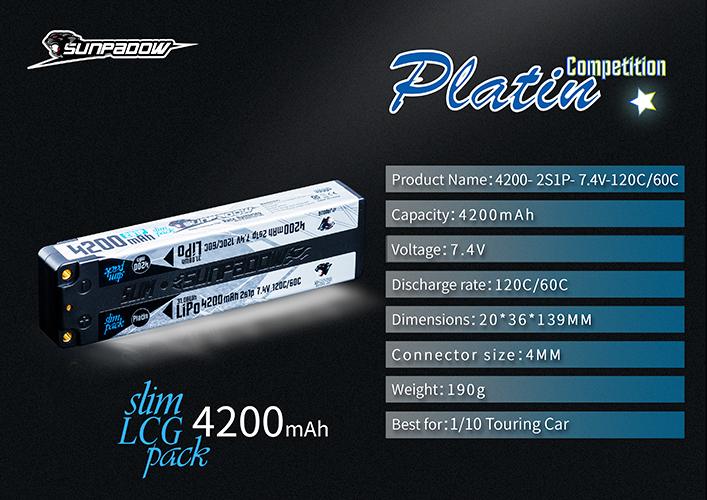 SUNPADOW 7.4V 4200mAh 120C Platin リポバッテリー | スペック
