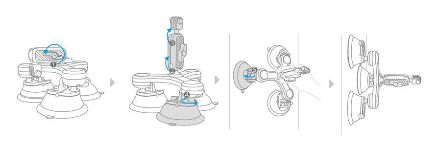 PGYTECH (ピージーワイテック) | アクションカメラ 用 3アーム吸盤式サクションカップ  | 取り付け方