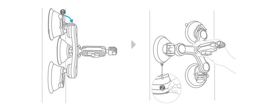 PGYTECH (ピージーワイテック) | アクションカメラ 用 3アーム吸盤式サクションカップ  | 取り外し方