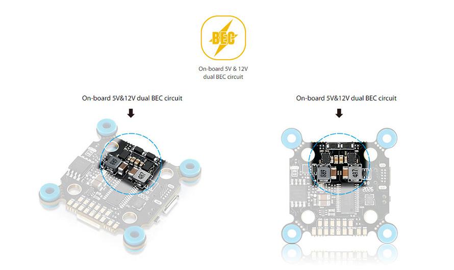 On-board 5V & 12V dual BEC circuit