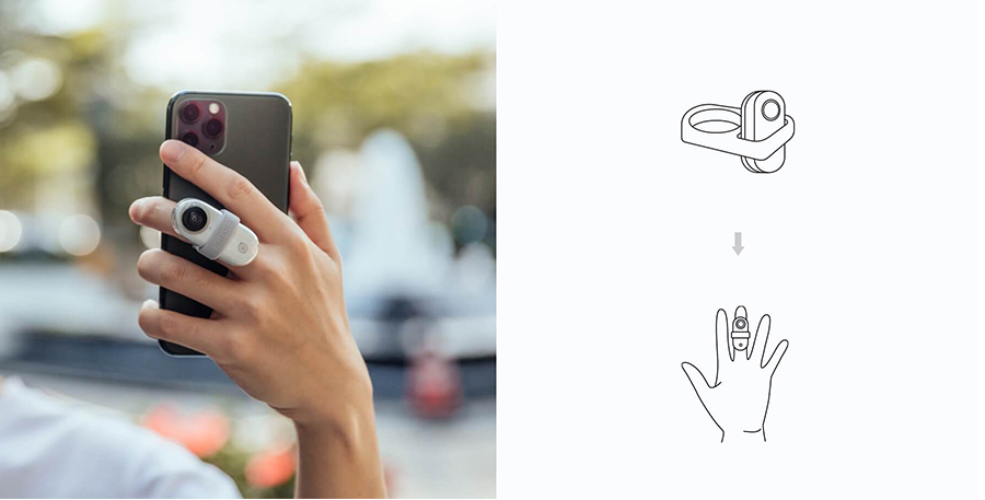 Insta360 GO 収納ケース   リンググリップには2つの穴が開いています。指のサイズに合う方をご利用ください。