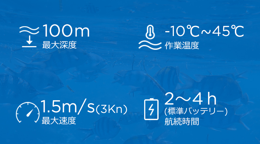 CHASING M2 | 最大深度100m 作業温度-10℃〜45℃ 最大速度1.5m/s 航続時間2〜4h