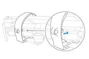 PGYTECH MAVIC MINI用 プロペラホルダー | 使用方法 | 3. プロペラホルダーの凸面部が胴体の溝に収まるように、プロペラホルダーの位置を調整します。