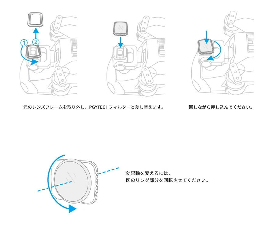 PGYTECH MAVIC AIR 2用 レンズフィルター Professional  | フィルターの取り付け方