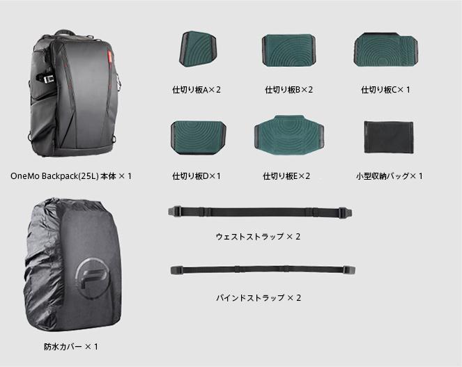 OneMo BackPack (25L)インナーバッグなしセット内容